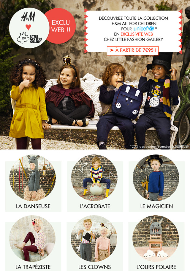 H&M en exclusivité sur Little Fashion Gallery avec la ligne All for Children