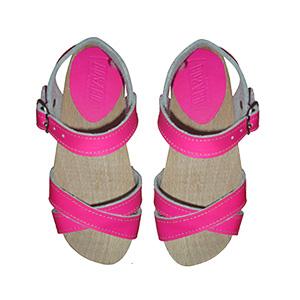 Sandale cuir fluo