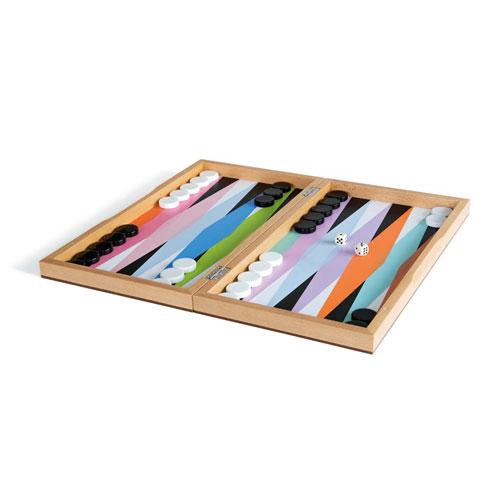 Jeu de Backgammon en bois multicolore