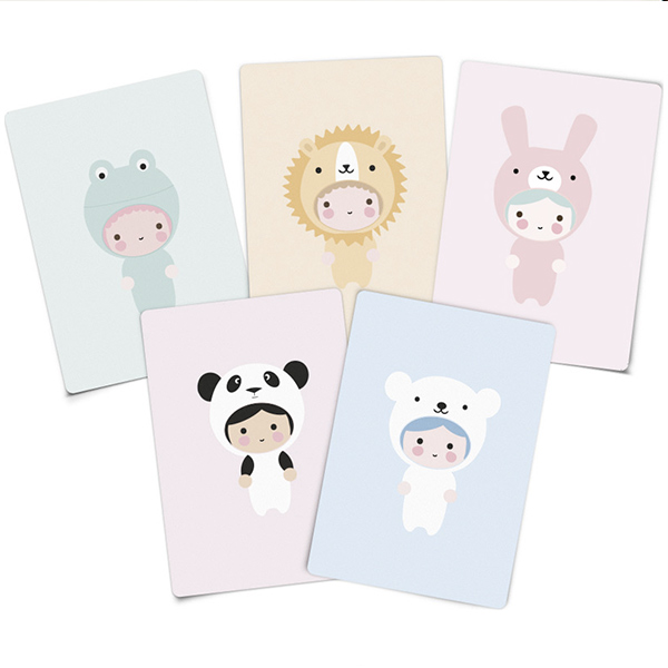 Lot de 5 mini cartes d'invitation