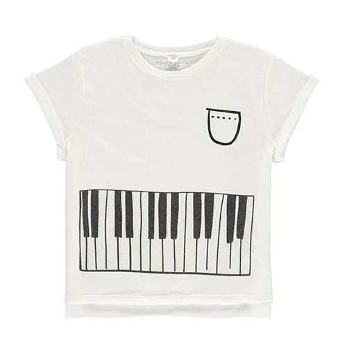 T-Shirt Cropped Piano Plum Blanc