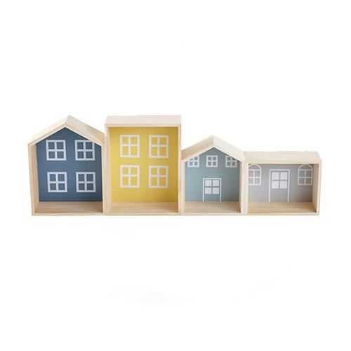 Etagère murale maisons