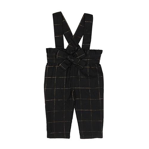 Pantalon à bretelles carreaux