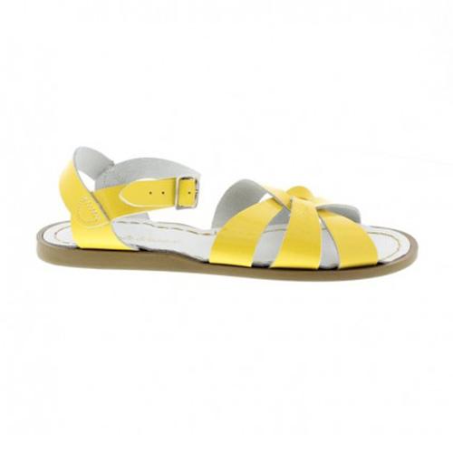 Sandales cuir vernis jaune