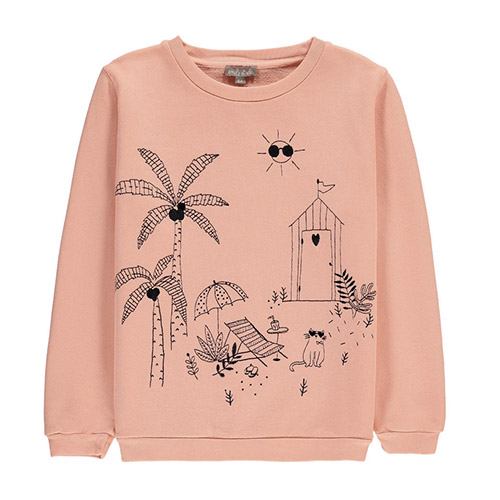 Sweat brodé Jardin rose