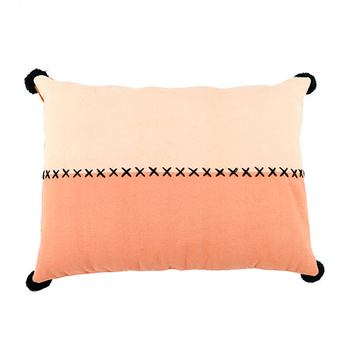 Coussin bicolore pompons