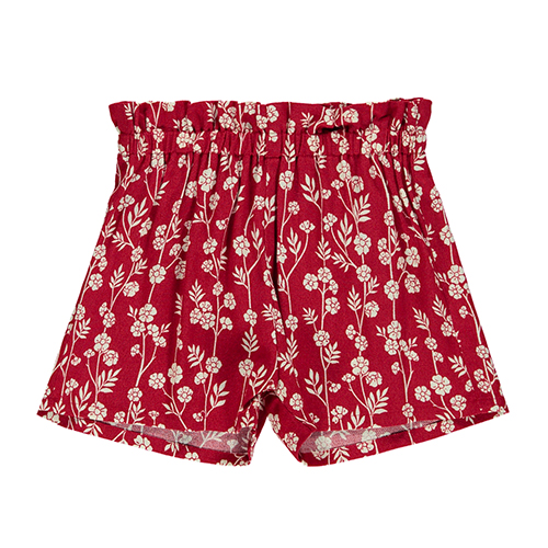Short fleuri rouge