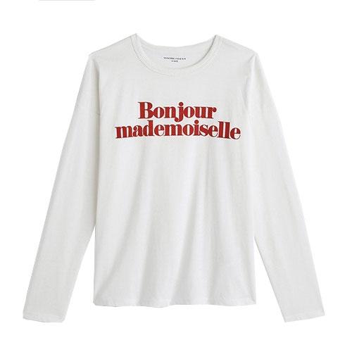 e69e016ddfed4 T-shirt Bonjour Mademoiselle Monoprix