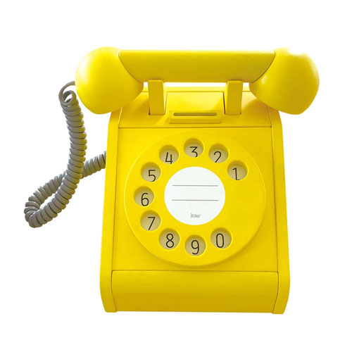 Téléphone rétro en bois