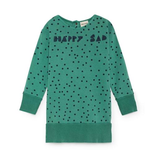 Robe Sweat Coton Bio Pois Vert sapi