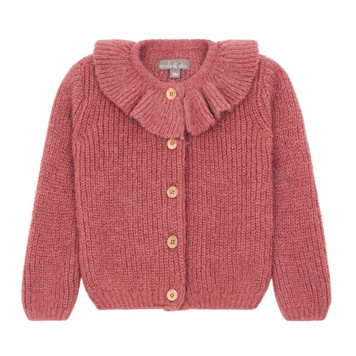 Cardigan alpaga rose