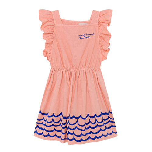 Robe manches volants rose