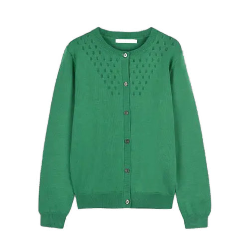 Cardigan en coton bio vert