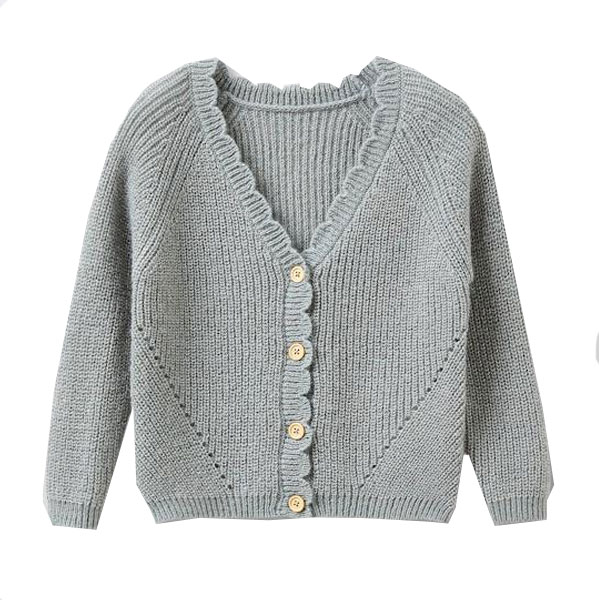 Cardigan festonné laine et mohair