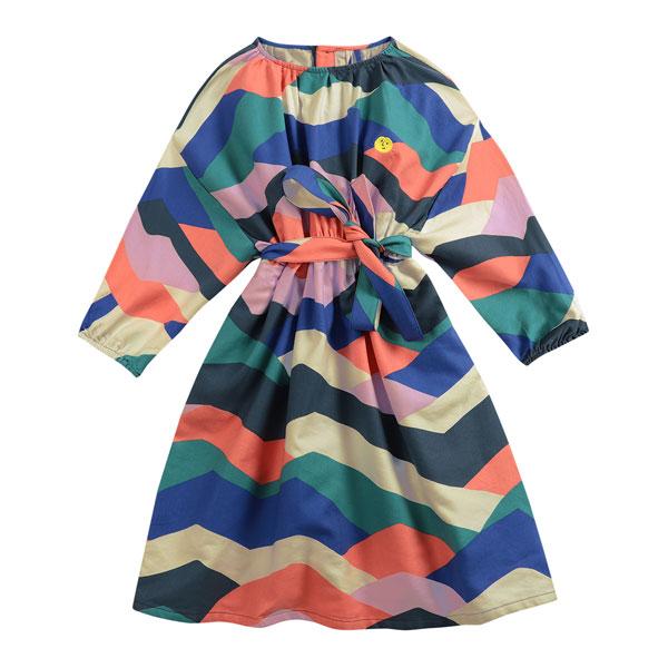 Robe longue colorblock bleu